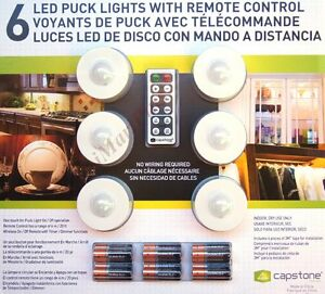 Capstone 6 pack lightmates led wireless puck lights with remote and image is loading capstone 6 pack lightmates led wireless puck lights aloadofball Gallery