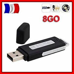 Cle-Cle-USB-Micro-Espion-SPY-Enregistreur-Dictaphone-8Go-Interne-NOIR