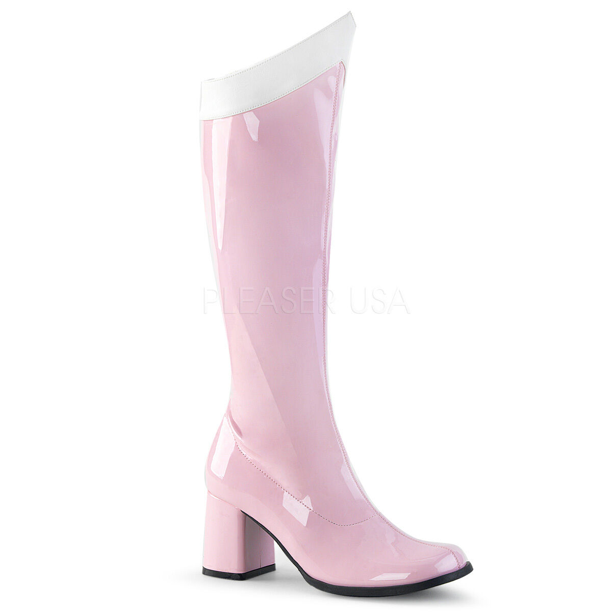 Sexy 3  Block High Heel Baby rose & blanc Gogo Dancer Knee High Costume bottes