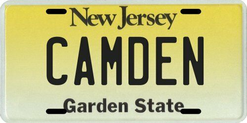 Camden New Jersey Aluminum License Plate