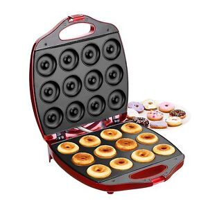 vonshef deluxe 12 hole electric mini donut maker snack machine red ebay. Black Bedroom Furniture Sets. Home Design Ideas