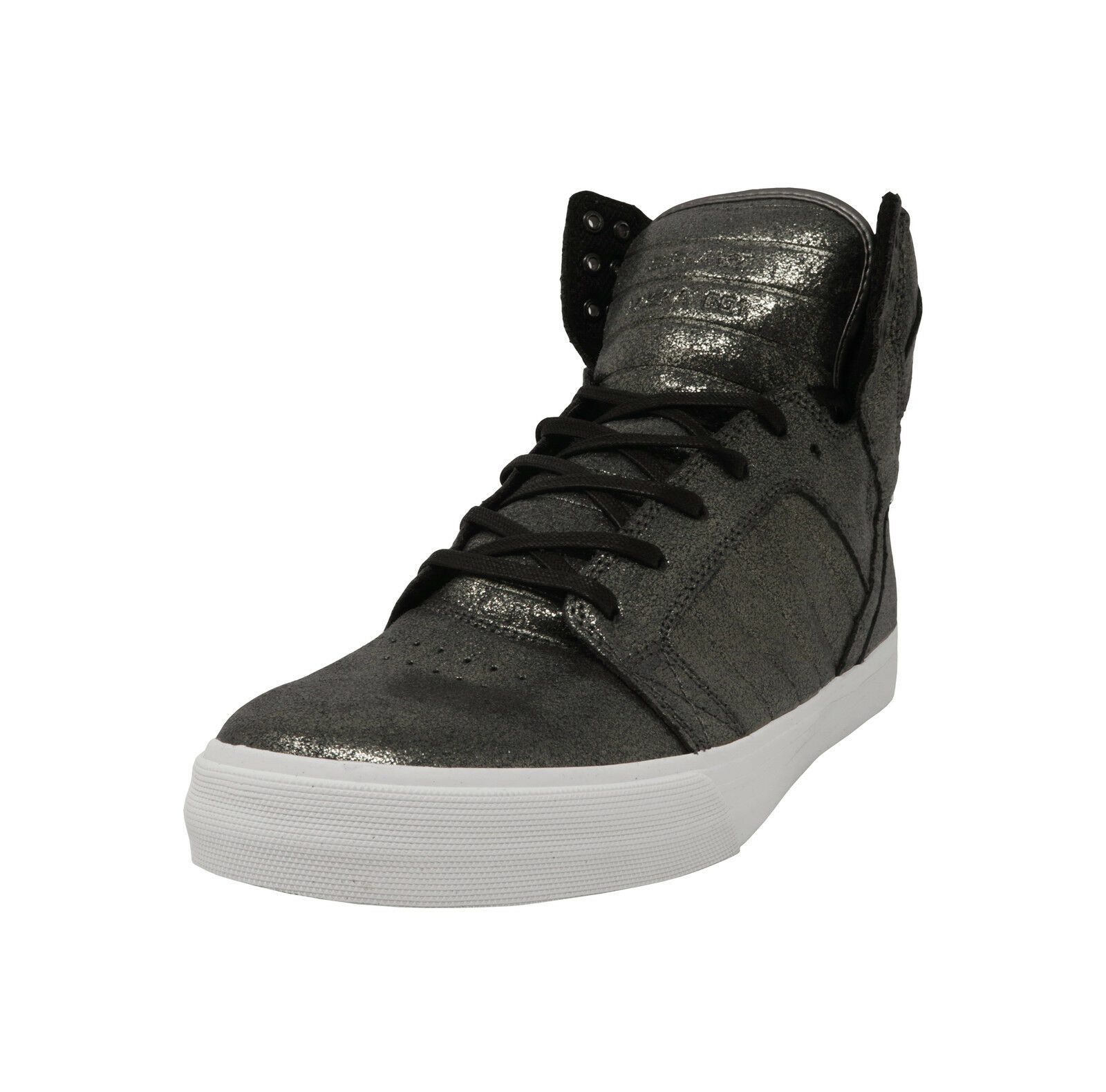 SUPRA Skytop Pewter Metalic White Hi Top Lace Up  Uomo Shoes
