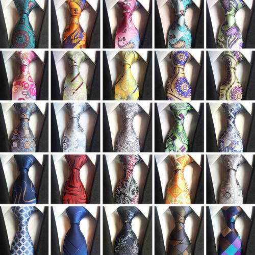 Mens Paisley Classic Silk Tie Plaid Jacquard Formal Wedding Party Floral Necktie