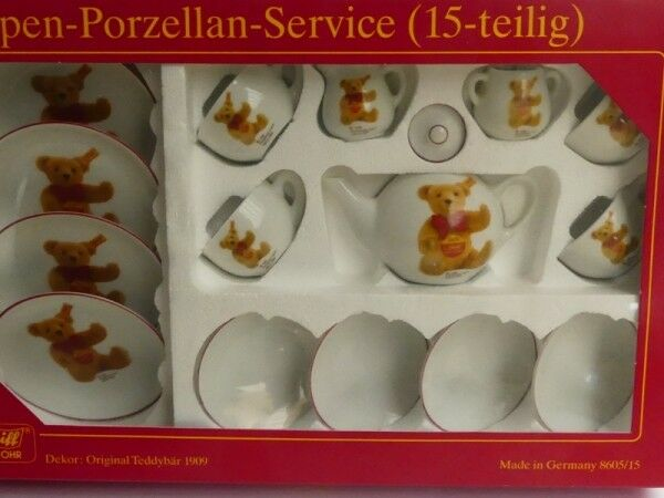 Steiff Dolln-Porzellan-Service 15-teilig Dekor Teddybären 613173