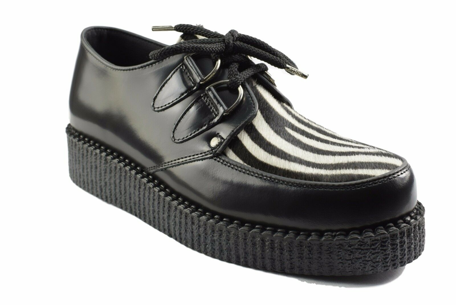 Steel Ground Schuhes schwarz Leder Zebra Hair Creepers Low Sole D Ring Casual