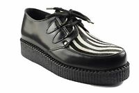 Steel Ground Shoes Black Leather Zebra Hair Creepers Low Sole D Ring Casual