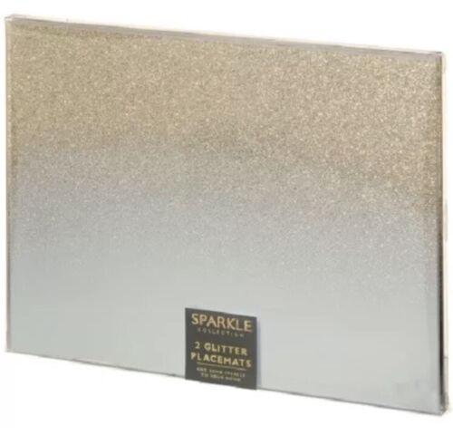 ⭐ Ensemble cadeau de 2 Or carré verre miroir PAILLETTES SPARKLE Boissons Tapis napperon