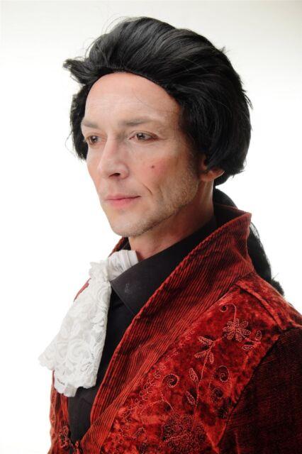 Carnevale Parrucca Bionda con Treccia Barocco Nobiluomo Poet Conte Fürst Vampiro