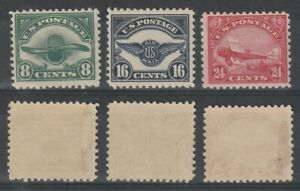 US-1923-AIR-MAIL-SET-OF-ALL-3-STAMPS-ALL-MOUNTED-MINT-C4-C6