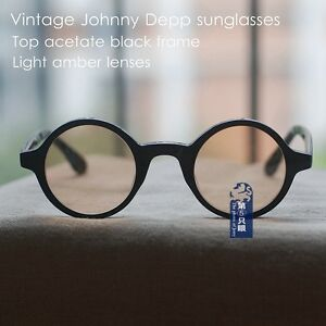 1b6beb8e7ba Image is loading Vintage-round-sunglasses-Johnny-Depp-mens-black-eyeglass-
