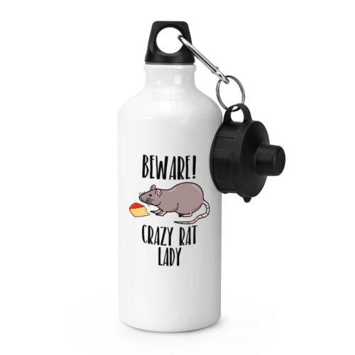 Beware Crazy Rat Lady Sports Drinks Water Bottle