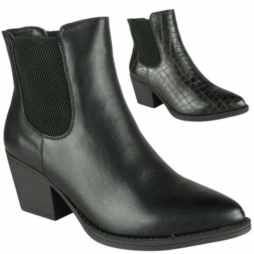 Womens Ladies Chelsea Ankle Croc Fashion Gusset Slip On Shoes Work Boots Size