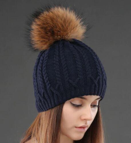 Knitted Wool Women Hat Raccoon Fur Pompom Winter Skullies Beanies Warm Cap