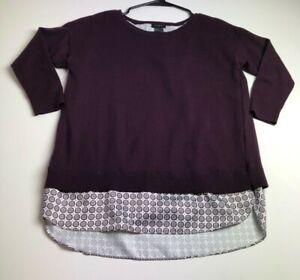 Ann-Taylor-Women-s-Sleeve-Sweater-Blouse-Small-S-Purple-Geometric-Crewneck
