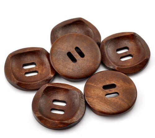 20 unid - Ø 3 cm Botones de madera para aufnähen 2 hoyos-marrón oscuro