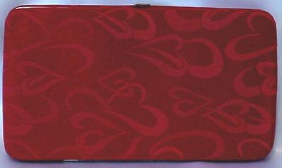 Womens Wallet Red Heart Monogram Designer Flat Opera Purse