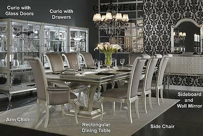 7 Pc. Pearl Caviar Rectangular Dining Room Table Set Furniture Table w/6 Chairs