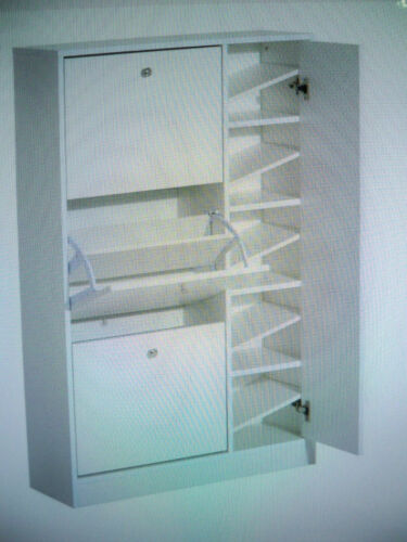 Schuhschrank Schuhkipper XXL  4 Türen-Weiß H//B//T 120x80x24 cm HOMCOM