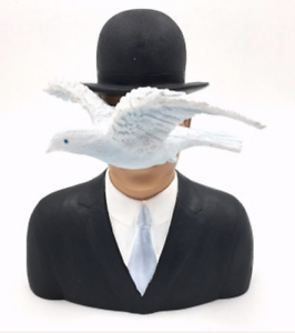 """Art Sculptures Rene Magritte """"man With Hat And Dove"""" Art Sculpture Statue Figurine"""