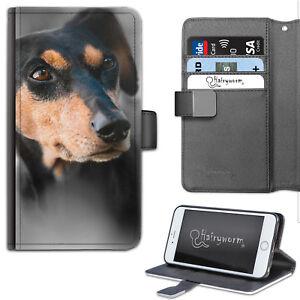 Perro-Dachshund-caja-del-telefono-Estuche-abatible-estilo-billetera-de-cuero-con-cubierta-para