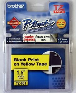 New-Brother-P-Touch-TZ-661-Tape-1-5-Inch-Black-Yellow-Adhesive-36mm-PT9800