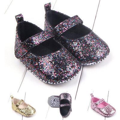 Newborn Infant Baby Girls Princess Dance Glitter Sequin Bling Jane Crib Shoes