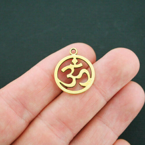 GC007 6 Om Charms Antique Gold Tone Circle