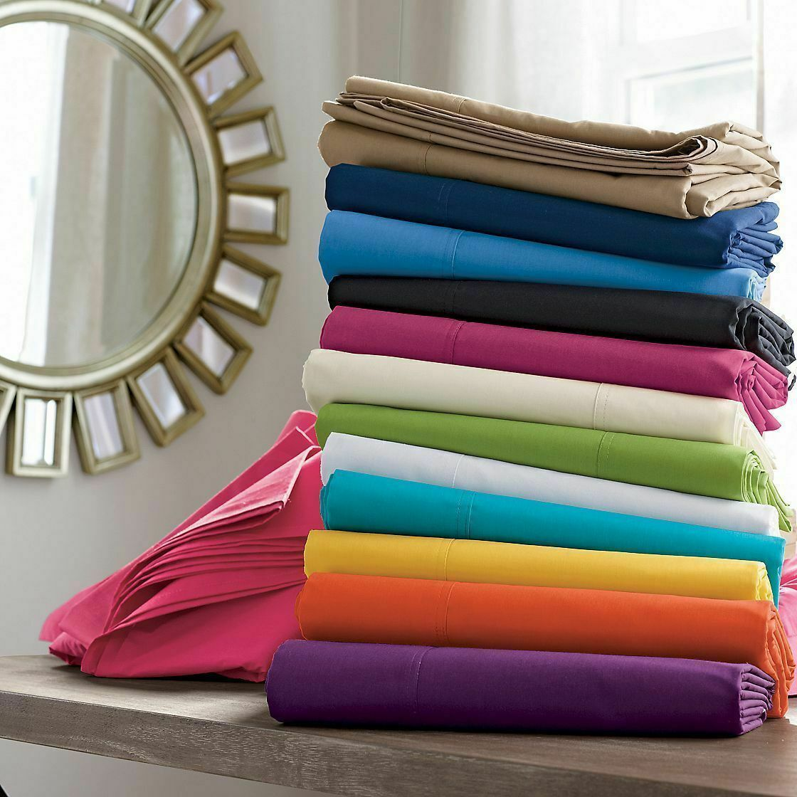 Bed Sheet Set USA Size Multi colors 100% Cotton 400-TC 15 Inch drop 4 Qty