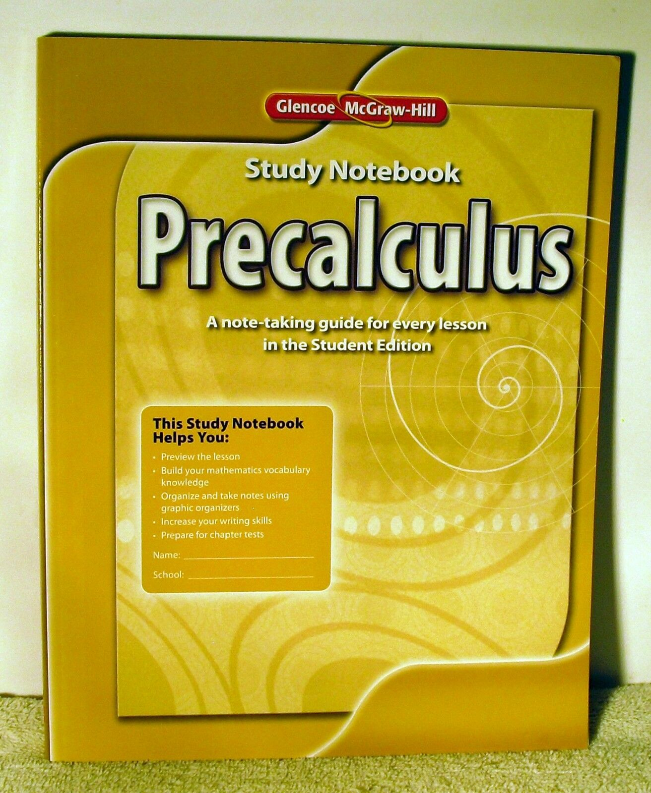 Advanced Math Concepts: Precalculus Study Notebook by McGraw-Hill Education  Editors (2010, Paperback)