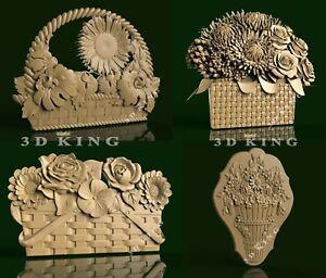 4 Pcs 3D STL Models Basket of Flowers for CNC Router Aspire Artcam Engraver