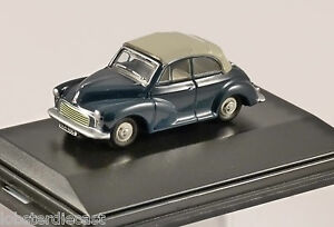 MORRIS MINOR CONVERTIBLE in Blue / Grey 1/76 scale model OXFORD DIECAST
