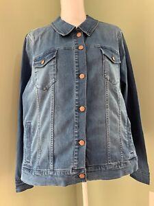 Martha Stewart Denim Button Front Jean Jacket - Medium Indigo - 1X