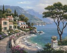 Escape by Sung Kim Mediterranean seascape beach sailboats 24x32 Canvas Giclee