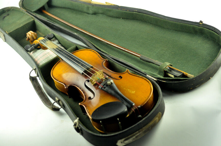 Antique Stradivarius 1717 Violin With Case 1/4 Bulgarian Copy Old VTG