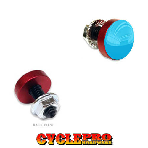 202 GLOSS BLUE TOP 2 Vivid Red Billet License Plate Frame Tag Bolts