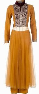 NWT-2013-Manish-Malhotra-Anakali-Dress-Sz-38-Mustard-Tulle-NO-PANTS-OR-SCARF
