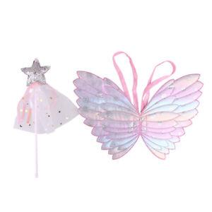 53e3c2e5d202 Kids Girls Fancy Fairy Angel Glittery Butterfly Wings  Wand Dress ...