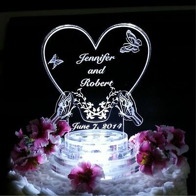 Butterfly Heart Lighted Wedding Cake Topper plus 100 Keychains for kijone66