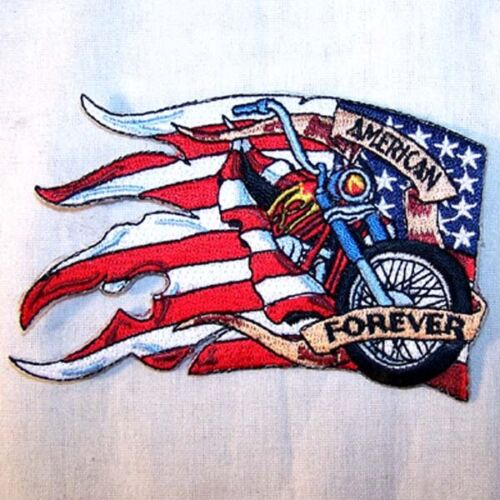 AMERICAN FLAG BIKE EMBRODIERED PATCH P472  jacket biker bikers novelty patches n