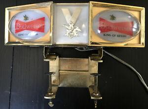 Vintage Anheuser-Busch Budweiser Light Up Counter Top Sign With Caddy