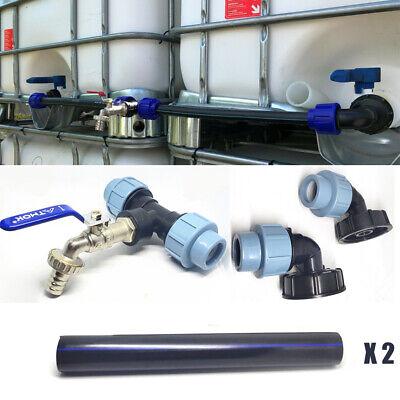 IBC Adapter Verbindungsset für 3 IBC Regenwassertanks Nebeneinander,Schwanenhals