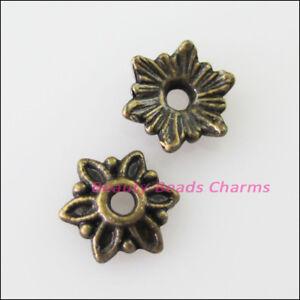 60-New-Connectors-Tiny-Flower-Antiqued-Bronze-Tone-End-Bead-Caps-8mm