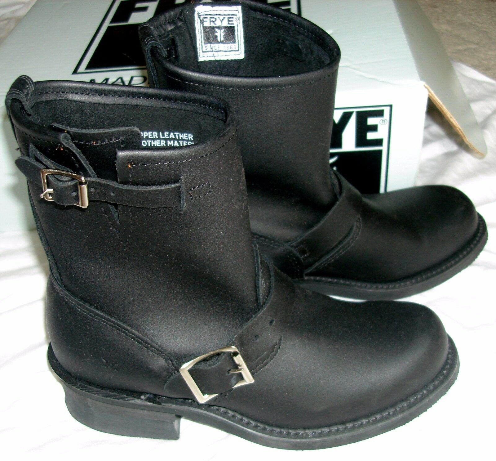 NEW FRYE WOMEN'S BLACK ENGINEER 8R SHORT BOOTS MOTORCYCLE BUCKLE BOOTIE NIB 36 6