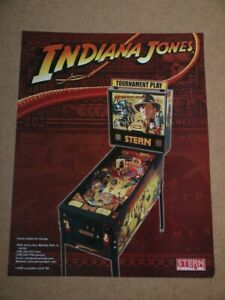 Pinball machine FLYER - Stern Indiana Jones  (combined postage - Use the BASKET)