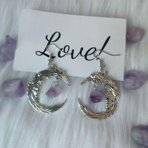 Stars Purple Aura Quartz crystal Crescent Moon Earrings Bohemian Moon