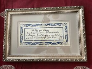 """Ornate Framed SCHERENSCHNITTE Hand Cut Paper Calligraphy """"WISHING YOU LOVE"""" Pict"""