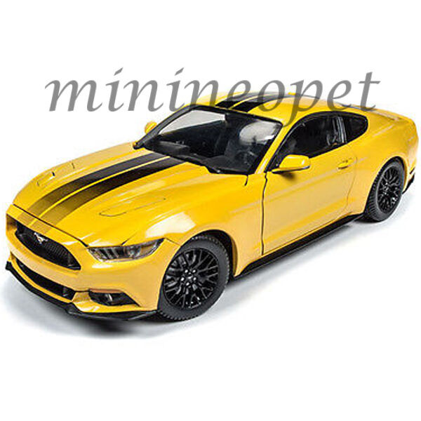 Auto World Aw229 Ford Mustang Gt 2016 Yellow C Black Stripes 1 18