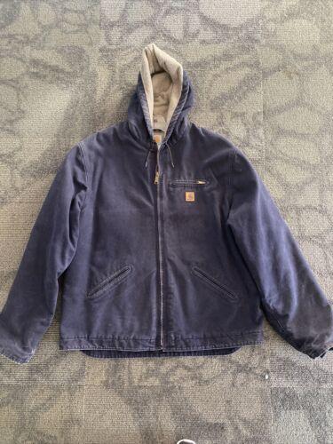 Mens Carhartt Hooded Fleece Lined Canvas Jacket XX