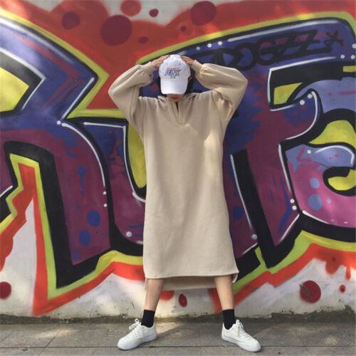 Women Long Loose Hoodie Dress Oversize  Top Pullover Maxi Asymmetric Slit Punk