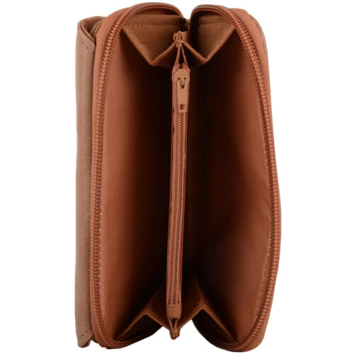 Womens Leather Tri-Fold RFID Protected Money Purse Coin Holder Ladies